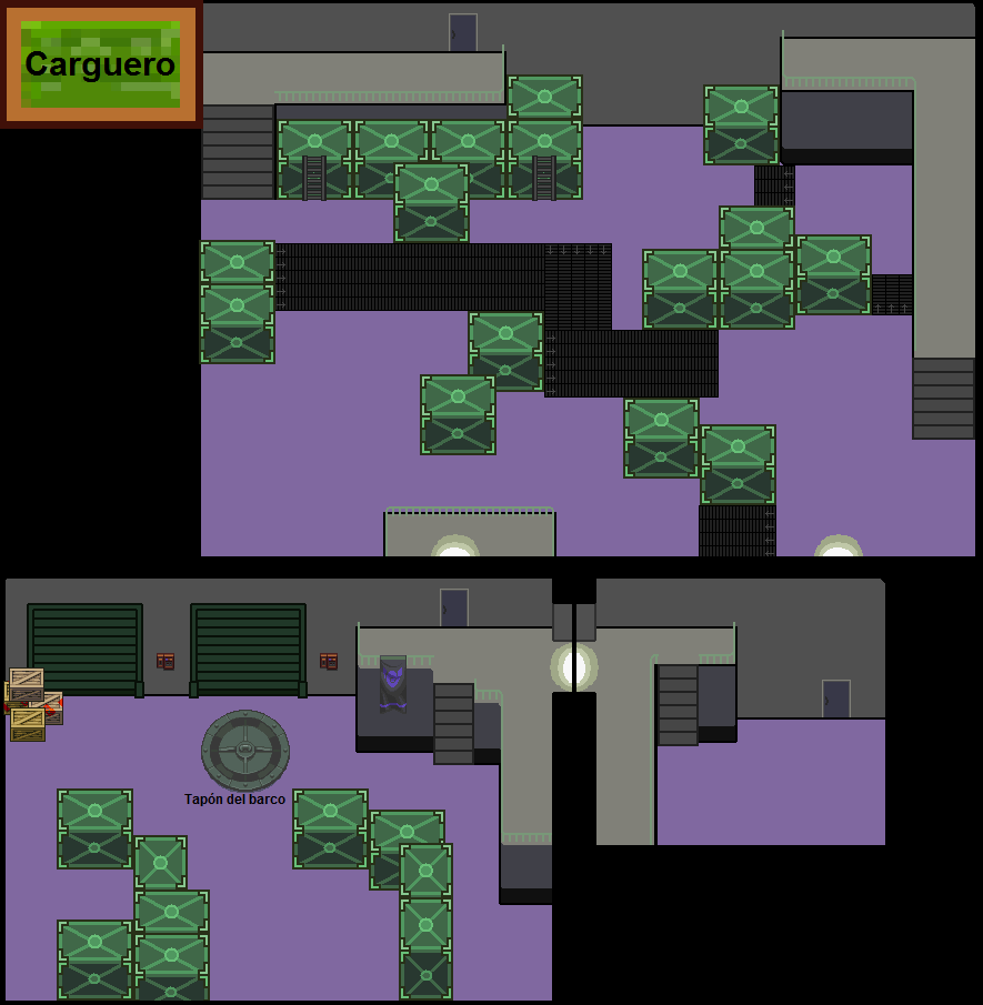 Al principio de la octava misión, las tres primeras salas del Carguero no se estaban hundiendo y eran como en esta imagen.