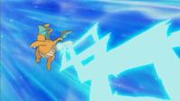 Dragonite usando Rayo hielo...