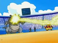 Rhydon desviando rayo con su habilidad pararrayos.