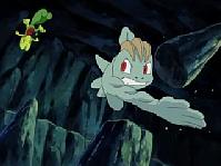 ... y después la libera, aunque el Treecko de Ash lo esquiva y termina cortando la roca.