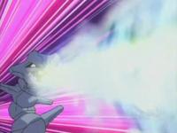 Steelix usando dragoaliento.