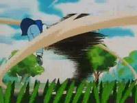 Pidgey salvaje usando tornado contra Ash.