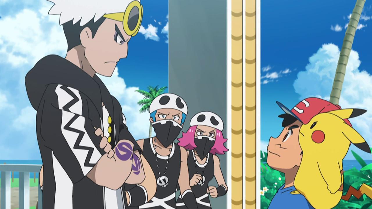 Ash desafiando a Guzmán.