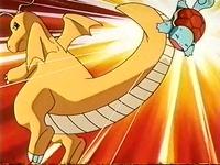 Dragonite usando atizar contra el Squirtle de Ash.