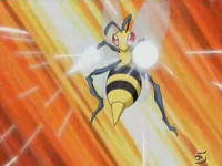 Beedrill usando Pin Misil contra Pink.