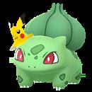 Bulbasaur con gorro de Pikachu GO variocolor.png