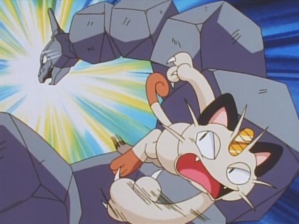 Meowth usando Golpes furia.