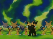 Alakazam usando doble equipo.
