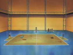 Campo de batalla del Gimnasio de Malvalona en el anime