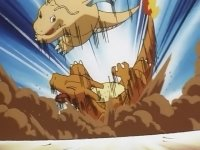 Dragonite usando atizar contra el Charizard de Ash.