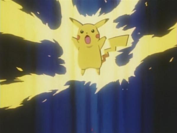Pikachu usando rayo