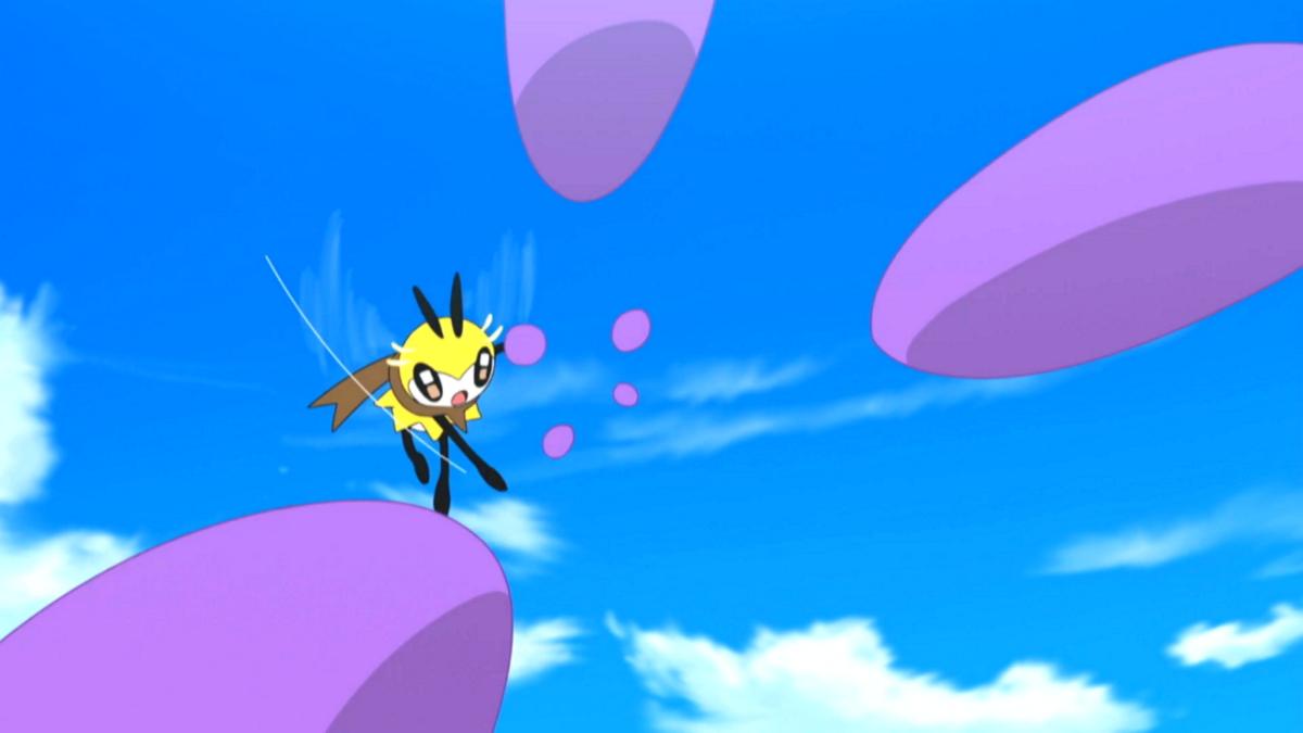 Ribombee usando bola de polen