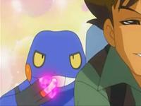 Croagunk a punto de golpear a Brock con puya nociva.