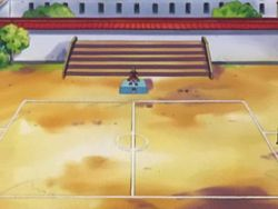 Campo de batalla del Gimnasio de Lavacalda en el anime