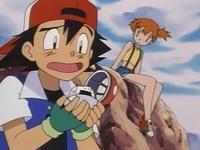 Ash tras haber capturado la bola de arroz.
