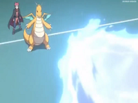 Rayo hielo de Lapras contra el Dragonite de Lance.