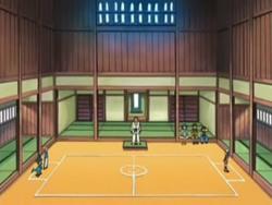 Campo de batalla del Gimnasio de Rocavelo en el anime