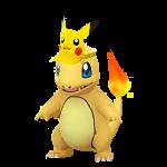 Charmander con gorro de Pikachu GO variocolor.png