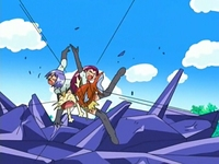 Magikarp usando placaje contra el Equipo/Team Rocket.