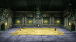 Campo de batalla del Gimnasio de Caolín en el anime