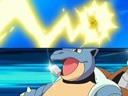 EP514 Blastoise de Gary junto al Pikachu de Ash atacando.jpg