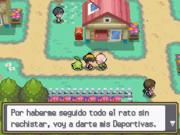 Recibiendo las deportivas en Pokémon Oro HeartGold y Plata SoulSilver.