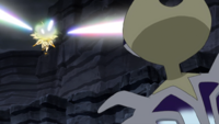 Necrozma melena crepuscular usando láser prisma.