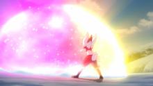 Ninetales usando brillo mágico