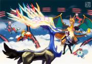 Ilustración de Xerneas en la base del Team Flare.png