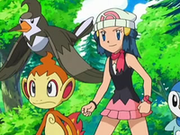 EP550 Maya con Chimchar, Staravia y Piplup.png