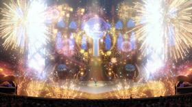Fuegos artificiales rodenado el escenario del Castillo de Gloria.