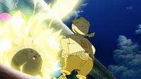 Togedemaru de Sophocles/Chris usando pararrayos para atraer y neutralizar el rayo de Pikachu.