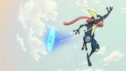 Greninja usando shuriken de agua.