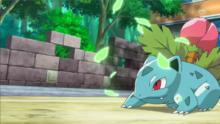 Ivysaur usando hoja afilada.