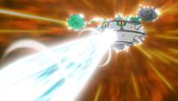 Ferrothorn usando Foco Resplandor para controlar al Dragonite de Iris