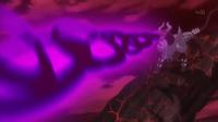 Mega-Houndoom de Malva usando pulso umbrío.