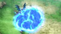 Mega-Charizard X de Alain usando lanzallamas.