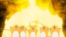 Raichu de Goh y salvajes usando rayo.