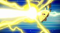 Pikachu de Ash usando gigavoltio destructor en un flashback del EP952.