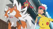 EP1060 Lycanroc, Pikachu y Ash desconcertados.png