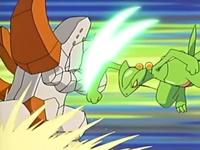 Regirock usando defensa férrea para defenderse del hoja aguda del Sceptile de Ash.