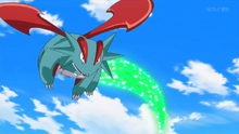 Salamence usando Cola dragón.