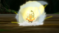 Litten de Ash usando carrera arrolladora.