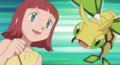Brianna junto a sus Pokémon.