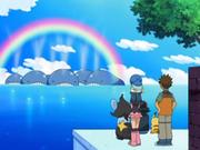 Cuando una Manada de Wailord saca agua por medio de su orificio y crean un arco iris.