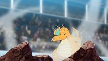 Dragonite de Ash usando vendaval.