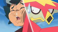 Ash se choca contra la espalda del Turtonator de Kiawe...