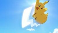 Pikachu de Ash usando cola férrea contra el Bunnelby de Clemont/Lem.