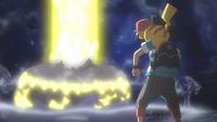 Gigarrayo fulminante del Pikachu de Ash en un flashback del EP997.