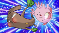 Chansey usando doble bofetón.